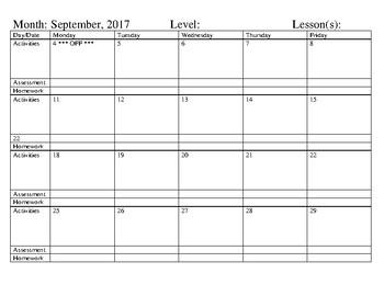 "2017-2018 Planning calendar - 81/2"" X 11"" - 4-weeks"