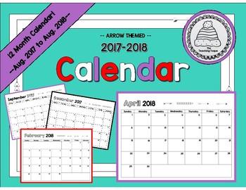 2017 - 2018 Printable Arrow Themed Calendar