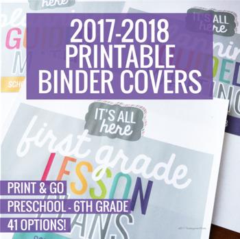 2017-2018 Printable Binder Covers