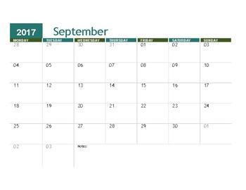 2017-2018 Printable IEP School Year Calendar