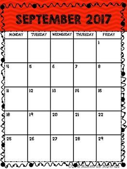 2017-2018 Printable School Calendar (Color and Black & White)