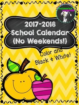 FREE 2017-2018 Printable School Calendar (Color and Black & White)