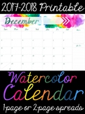 2017-2018 Printable Watercolor Calendar