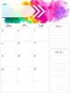 2017-2018 Printable Watercolor Calendar