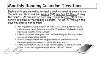 2017-2018 Reading Calendar (Middle or High School)