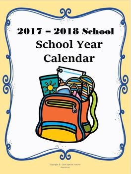 2017-2018 Reading Logs and Calendar
