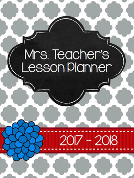 2017-2018 Red and Gray Quatrefoil Planner