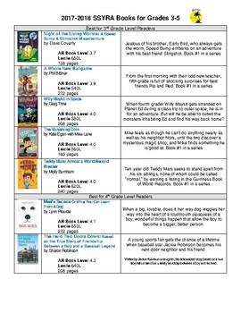 2017-2018 SSYRA Books for Grades 3-5