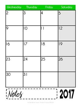 2017-2018 Sanity Saver: 12-Month Calendar (July - June)