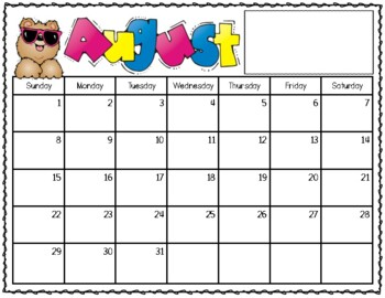 2018-2019 School Calendar (August-August)