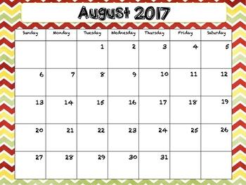 2017-2018 School Calendar Chevron