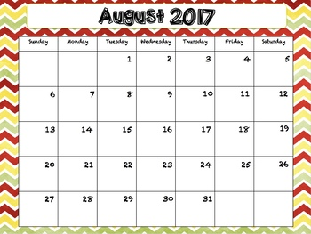 2017-2018 School Calendar Chevron