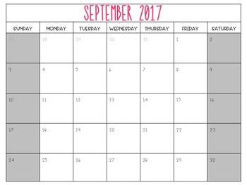 2017 - 2018 School Calendar - Editable