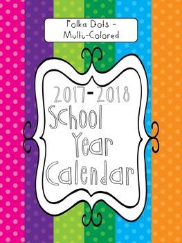 2017-2018 School Calendar - Multi-Colored Polka Dots