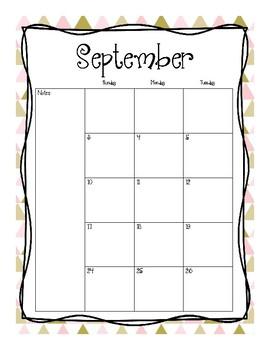 2017-2018 School Calendar (Pink & Gold)