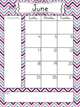 2017-2018 School Calendar - Pink, Purple, Turquoise