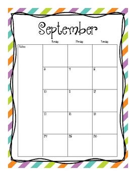 2017-2018 School Calendar (Purple Blue Green Orange)