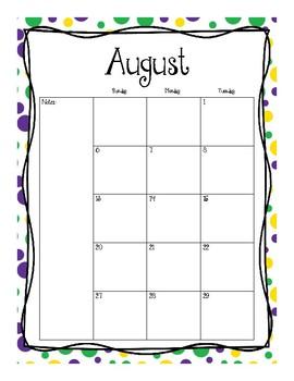 2017-2018 School Calendar (Purple Yellow Green)