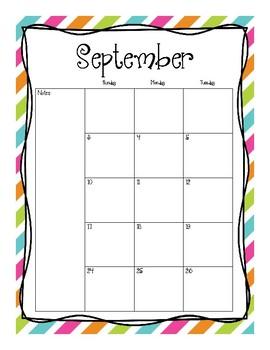 2017-2018 School Calendar (Rainbow Tutus)