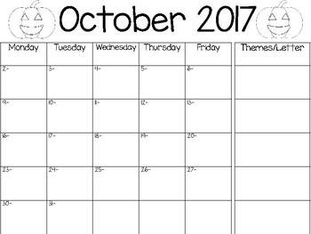 2017-2018 School Calendar with Theme Column