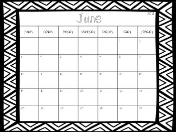 2017-2018 School Calendars Freebie- Black & White