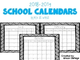 2018-2019 School Calendars Freebie- Black & White