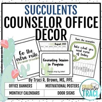 2018 - 2019 School Counselor Office Decor (Succulent / Cactus)