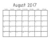 2017-2018 School Year Blank Calendar