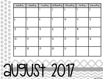 2017-2018 School Year Calendar- Black and White Version