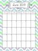2017-2018 School Year Calendar - Green, Blue, and Gray