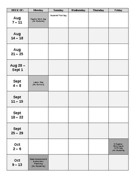 pacing calendar template for teachers - 2017 2018 blank calendar pacing guide editable by
