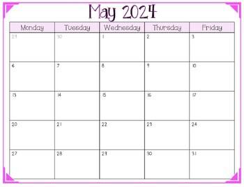 2018-2019 FREE School Year Calendar (Weekdays Only)