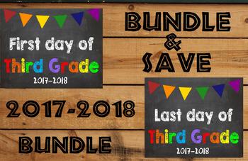2017-2018 School Year First & Last Day of School Bundle fo