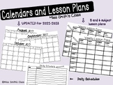 School Year Monthly Calendars and Weekly lesson plans (Updated Yearly)