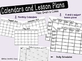 2017-2018 School Year Monthly Calendars and Weekly lesson plans