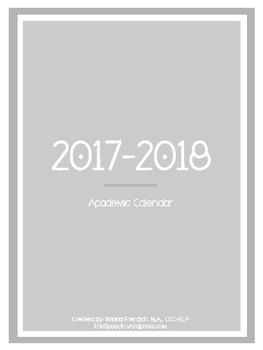 2017-2018 Simple Academic Planner Calendar