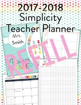 2017-2018 Simplicity Teacher Planner REFILL