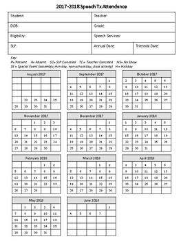 2017-2018 Speech/Language Attendance & Data Sheets