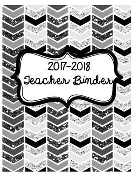 2017-2018 Teacher Binder in Black and White (Printer Friendly!)