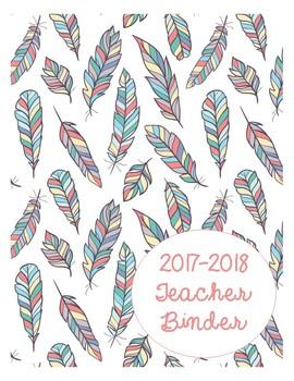 2017-2018 Teacher Binder in Boho Feathers (mix-n-match 5 styles!)