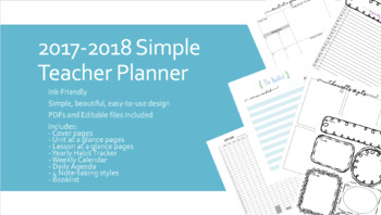2017 - 2018 Teacher Planner - Simple, Printer Ink Friendly