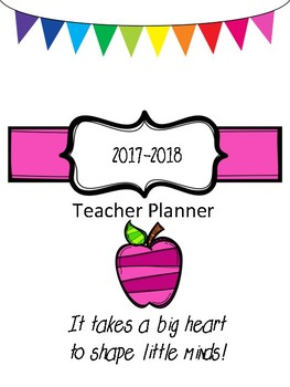 2017-18 Teacher Planner in 2 versions - Colour AND Printer Friendly