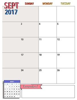 2017-2018 Teachers Plan Book: Monthly Calendar