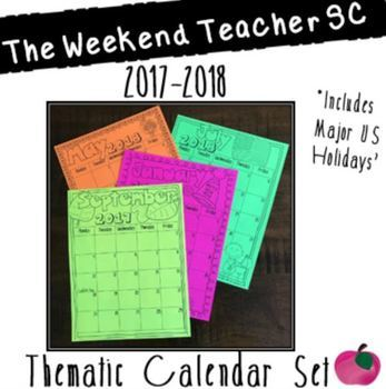 2017-2018 Thematic Black and White Calendar Sets 5 Day & 7 Day