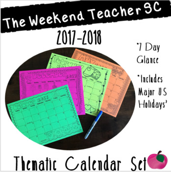 2017-2018 Thematic Calendar Set, 7 Day (Black & White)