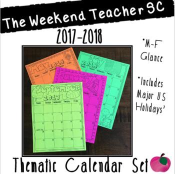 2017-2018 Thematic Calendar Set, M-F (Black & White)