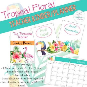 2017-2018 Tropical Floral Teacher Binder Planner   Pineapple Fully Editable