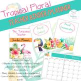 Tropical Floral Teacher Binder Planner Pineapple Fully Edi