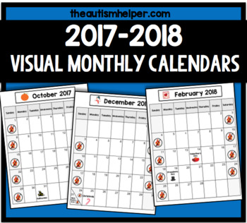 2017-2018 Visual Monthly Calendars for Children with Autism