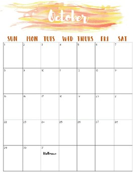 2017-2018 Watercolor School Calendar